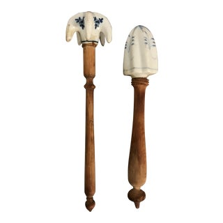 Early 20th Century Porcelain Fruit Squeezers - a Pair For Sale