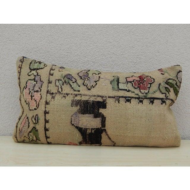 1990s Turkish Lumbar Aubusson Kilim Pillow For Sale - Image 5 of 5