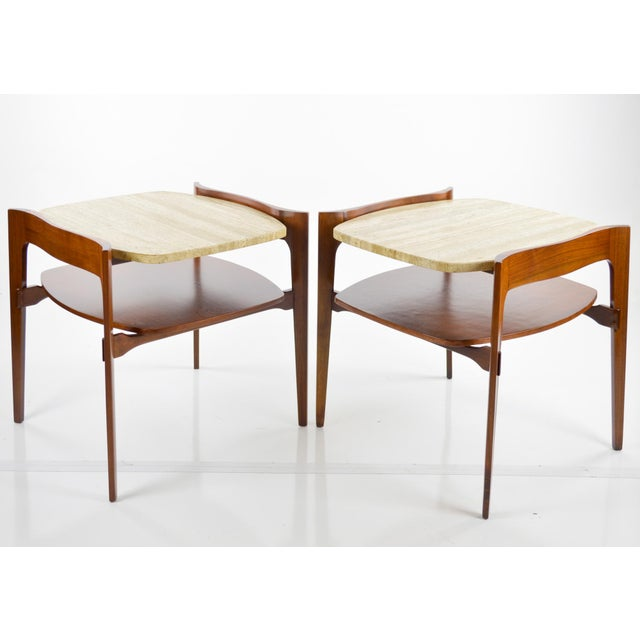Travertine & Walnut Modern Side Tables - Pair by Bertha Schaefer - Image 10 of 11