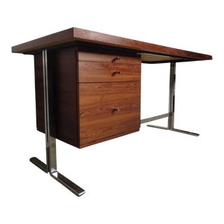 Mid-Century Rosewood Desk With Chrome Trim For Sale