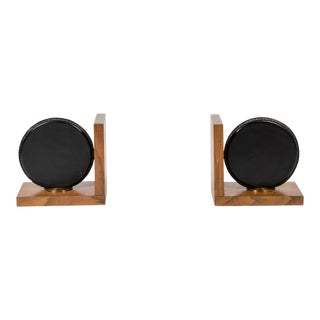 Stitched Leather Book End by Jacques Adnet - A Pair For Sale