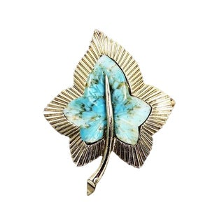 1950s Boucher Faux-Turquoise Leaf Brooch For Sale