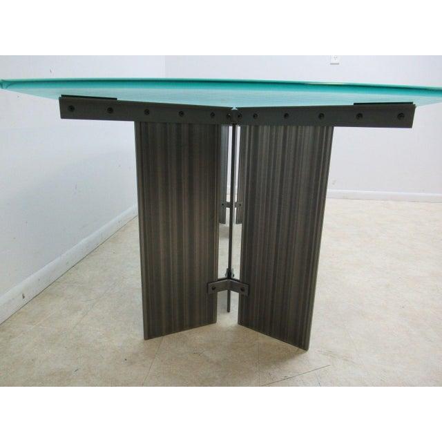1980s Vintage Industrial Steel Pedestal Conference Table For Sale - Image 5 of 10