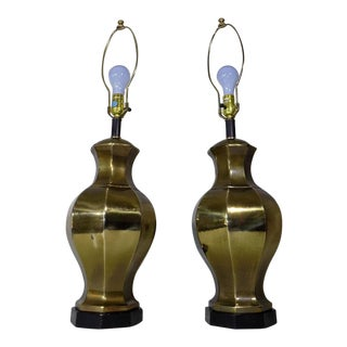 Ethan Allen Brass Ginger Jar Lamps - A Pair For Sale