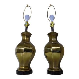 Ethan Allen Brass Ginger Jar Lamps - A Pair