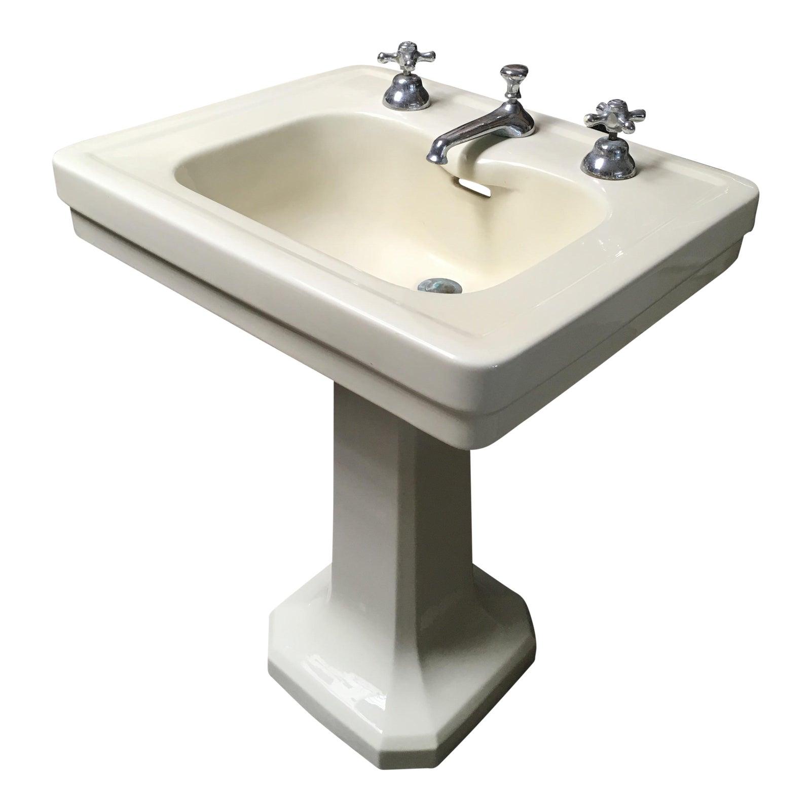 American Standard Antique Art Deco Pedestal Sink Chairish