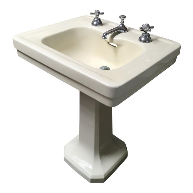 American Standard Antique Art Deco Pedestal Sink - Image 1 of 11