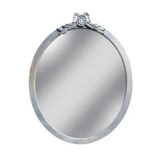 Beveled Oval Mirror With Carved Peplum For Sale