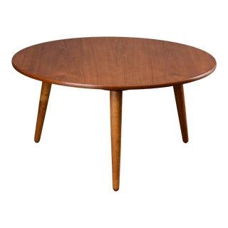 1950's Danish Modern Hans Wegner Teak Round Coffee Table For Sale