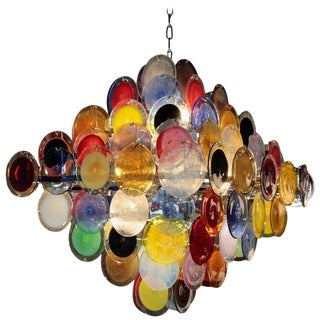 Monumental Multi-Color Murano Glass Disc Chandelier by Vistosi For Sale