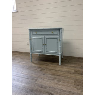 Vintage Thomasville Faux Bamboo Cabinet/Bachelor's Chest Lacquered Blue Gray Preview