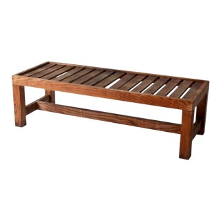 Vintage Slat Wood Coffee Table Bench For Sale
