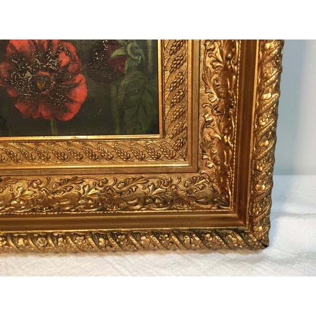 Antique Floral Oil Painting For Sale - Image 9 of 11