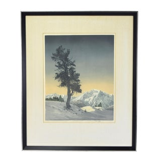 1920s Vintage Hans Figura Arts & Crafts Era Landscape Color Etching Aquatint Print For Sale