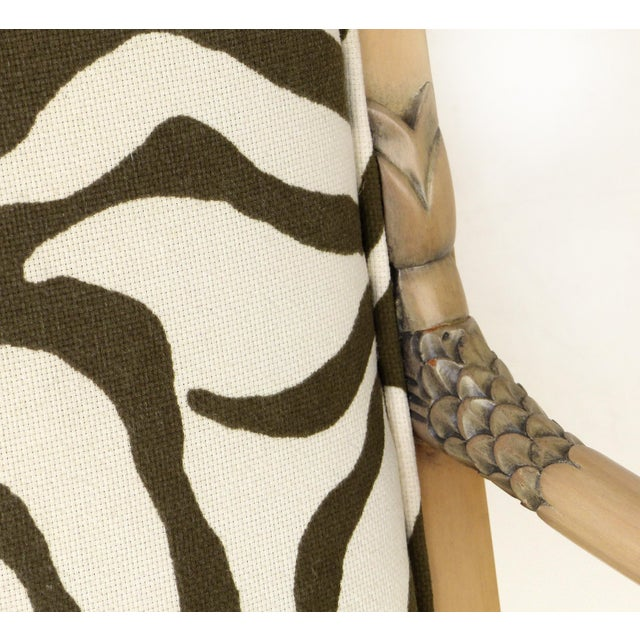 1980s Vintage Blond Wood & Zebra Print Upholstery & Dolphin Carved Armchairs- a Pair For Sale - Image 10 of 12