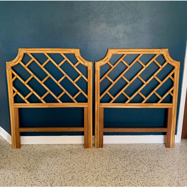 Tan Vintage Chippendale Styled Rattan Twin Headboards - a Pair For Sale - Image 8 of 8