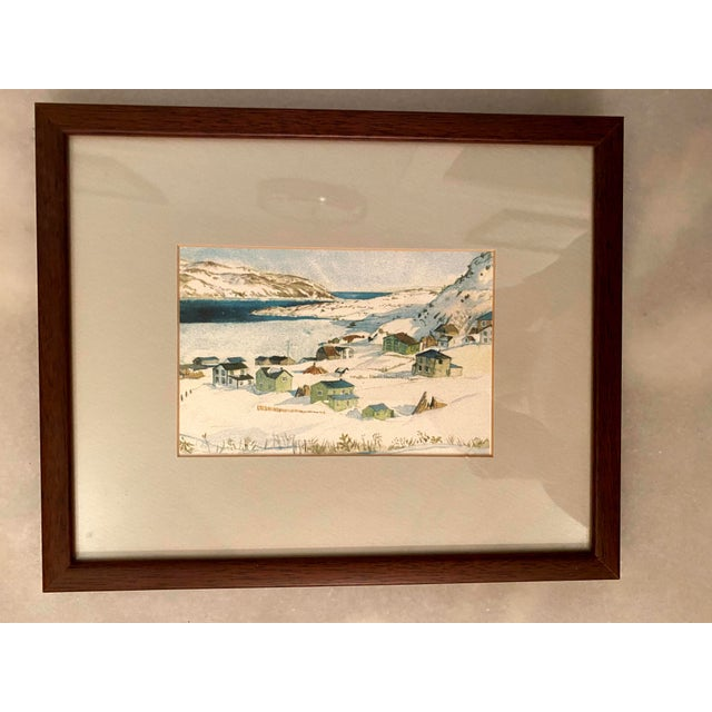 Farmhouse Winter Scene of a Lakeside Nordic Town Watercolor Painting, Framed For Sale - Image 3 of 11