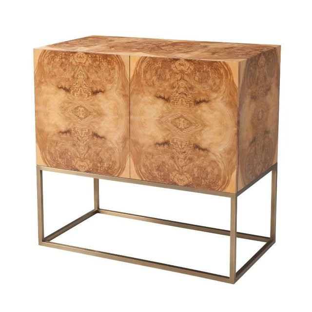 Metal Mid Century Modern Burl Cabinet For Sale - Image 7 of 7