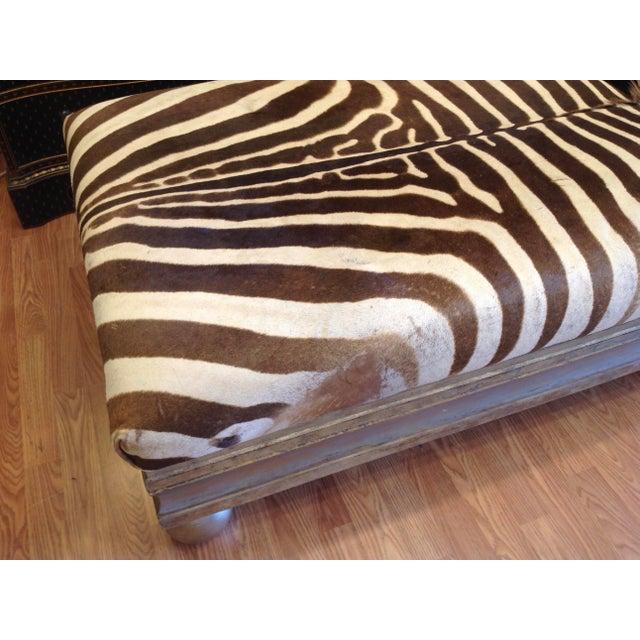 White Enormous Zebra Hide Ottoman For Sale - Image 8 of 13
