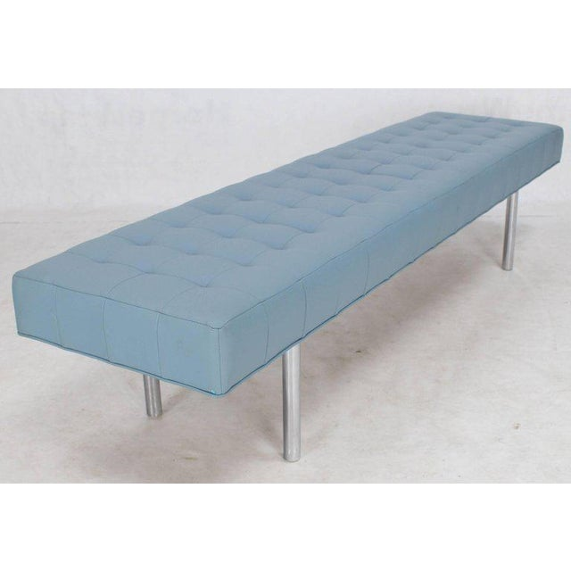 Tufted Light Blue Upholstery Chrome Cylinder Legs Long Bench Almost Daybed For Sale In New York - Image 6 of 9