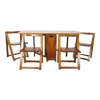Mid Century Scandinavian Minimalist Drop Leaf Dining Set - 5 Pieces For Sale