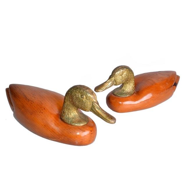 Brass & Mahogany Mallard Ducks - A Pair - Image 1 of 10