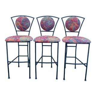 Postmodern Memphis Style Textile Sculptural Bar Stools - Set of 3 For Sale
