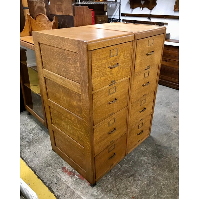 Antique arts and crafts era library bureau sole makers tiger oak double 4 drawer (8 drawers total) filing cabinet...
