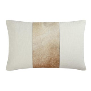 "Modern Tan Cowhide ""Lucas"" Pillow - 14x20"" For Sale"