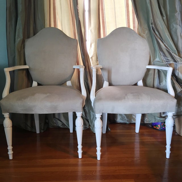 Vintage Reupholstered Gray Dining Chairs - A Pair - Image 2 of 6