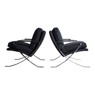 Set of Two Chrome Lounge Chairs by Bernhardt in Navy Upholstery, USA For Sale