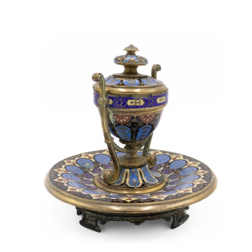 French Victorian Enamel Urn Shaped Inkwell For Sale - Image 4 of 6