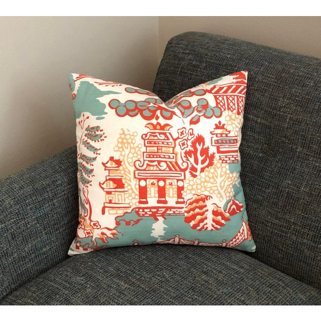 Not Yet Made - Made To Order Thibaut Luzon in Aqua and Coral Pillow Cover For Sale - Image 5 of 6