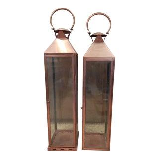 Copper Metal Charleston Pillar Candle Hanging Lanterns - Pair For Sale
