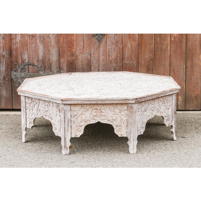Grand White-Washed Moorish Carved Octagonal Coffee Table For Sale - Image 9 of 9