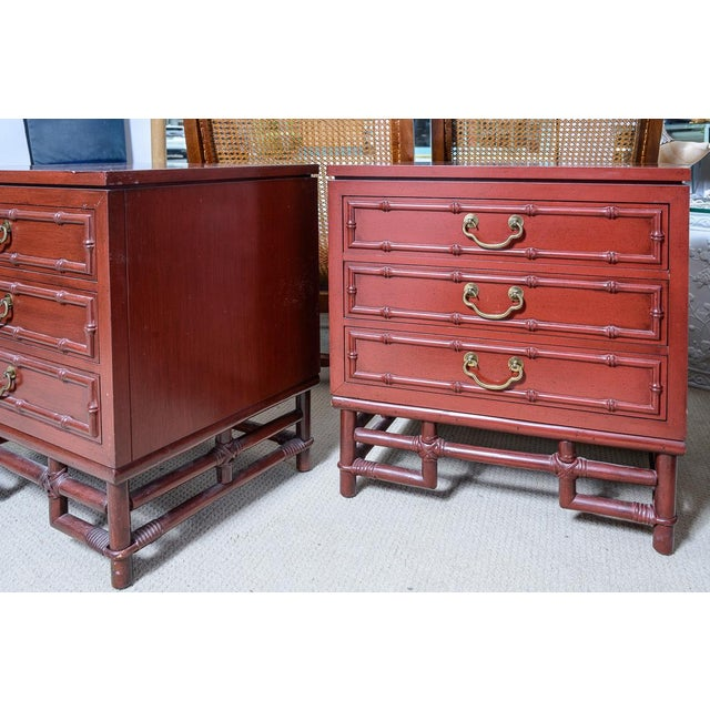 Vintage Ficks Reed Faux Bamboo Chinese Red Nightstands-A Pair For Sale - Image 10 of 12