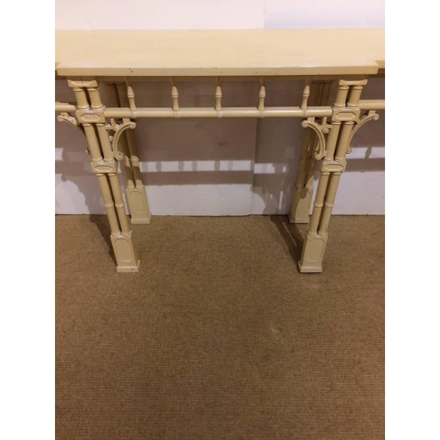 Chinese Elegant Long and Narrow Painted Faux Bamboo and Wood Console Table For Sale - Image 3 of 10