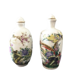 Chinoiserie Famile Rose Porcelain Snuff Bottles - Set of 2 For Sale