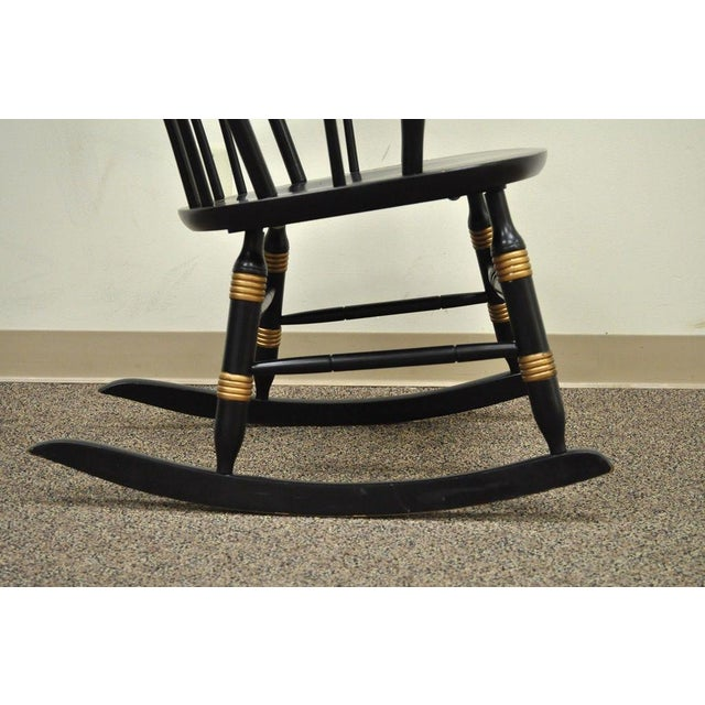 Wood Vintage Sigill College University Nichols & Stone Windsor Rocking Chair Rocker For Sale - Image 7 of 11