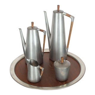 Vintage Mid-Century Modern Tea Coffee Set by Royal Holland Pewter Teak - Set of 5 For Sale
