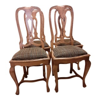 Elm Wood Dining Chairs With Chanel Style Designer Boucle Fabric - Set of 4 For Sale