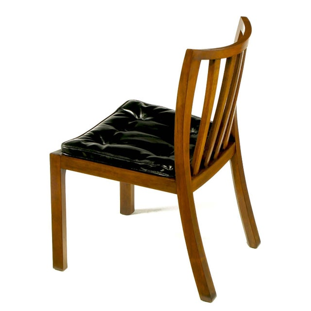 Six Bert England Forward Trend Walnut and Leather Dining Chairs For Sale In Chicago - Image 6 of 11