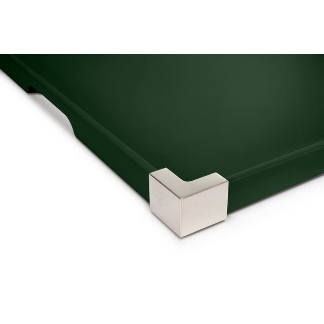 Contemporary Corners Tray Nickel in Bottle Green / Nickel - Rita Konig for The Lacquer Company For Sale - Image 3 of 4
