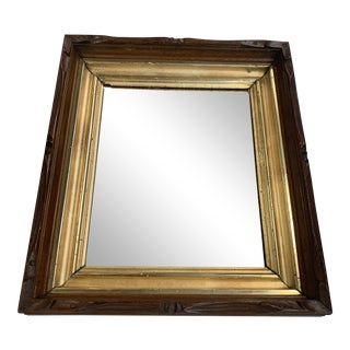 Antique Mahogany and Gilded Wood Wall Mirror For Sale