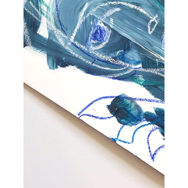Flowers and Wine in Indigo Abstract Painting - Image 2 of 3