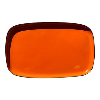 Orange and Black Lacquerware Serving Tray by Davar For Sale