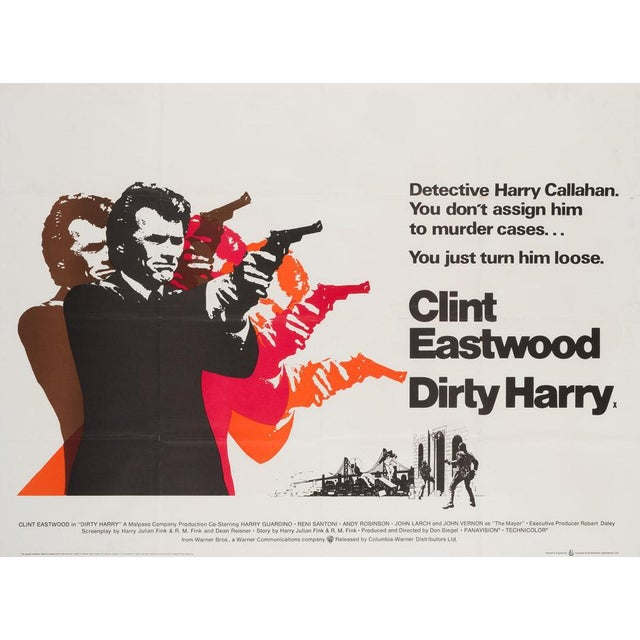 The very cool first-year-of-release UK Quad poster for Don Siegel's classic 70s thriller Dirty Harry, starring Clint...