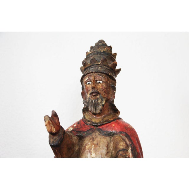 """This """"original"""" Pope Saint Peter is an excellent example of the """"best"""" Pope Saint Peter wood carving from Portugal during..."""