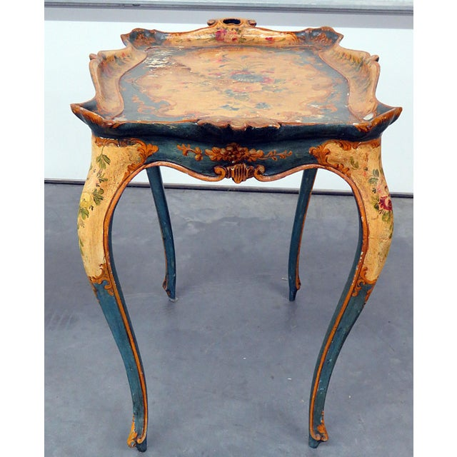 Wood Antique Venetian Tray Table For Sale - Image 7 of 8