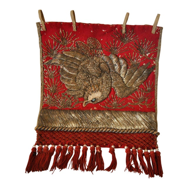 19th Century Antique Japanese Sumo Wrestler's Ceremonial Apron Kesho Mawashi With Golden Eagle For Sale